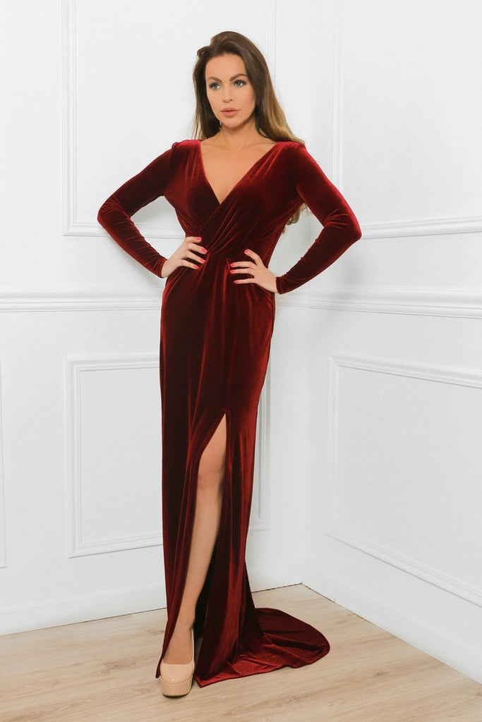 velvetbridesmaiddressesburgundy