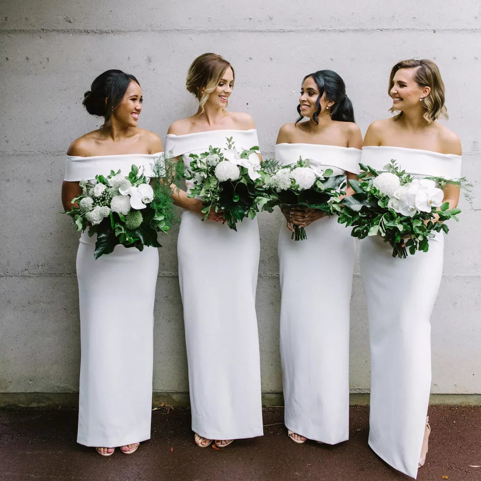 Long Off the Shoulder Mermaid White Bridesmaid Dresses