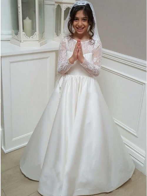 A Line Long Sleeves Lace Satin White Flower Girl Dresses