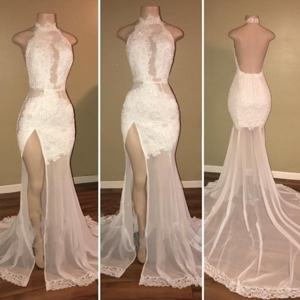 White High Neck Lace Backless Prom Dresses