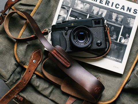 L E G A C Y classic wide camera strap - Nero Brown Horween CXL