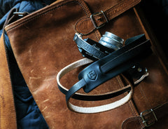 L E G A C Y leather camera fixed length neck/shoulder strap - Black x Natural