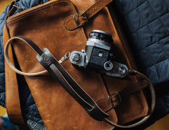 L E G A C Y leather camera fixed length neck/shoulder strap - Dark Chocolate