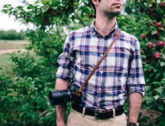 L E G A C Y leather camera fixed length neck/shoulder strap - Antique Tan | Dark Amber Beeswax