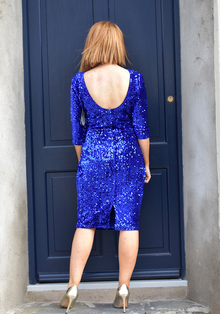 Ruth Velvet Sequin Dress by Marc Angelo in Electric Blue