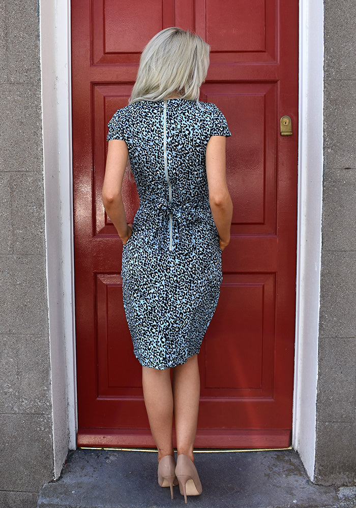 Hessa Leopard Print Tulip Dress in Blue by Marc Angelo