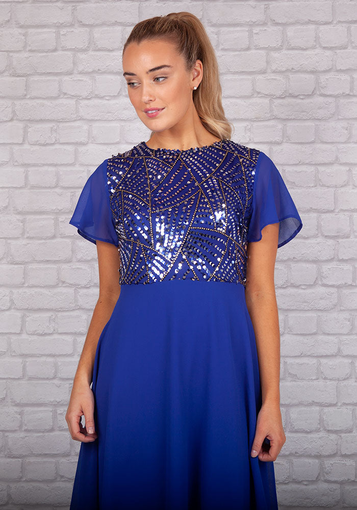 Gatsby Sequin Swing Occasion Dress by Marc Angelo in Blue