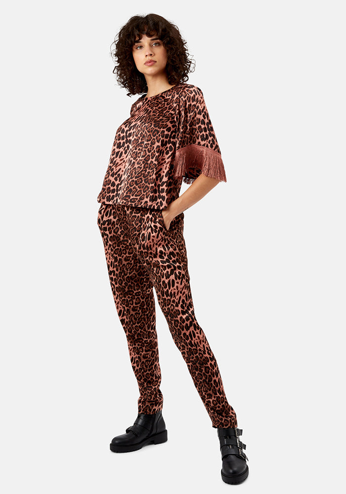 Tabia Tapered Leopard Print Pants by Traffic People
