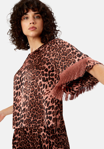 Freya Leopard Fringe Top by Traffic People