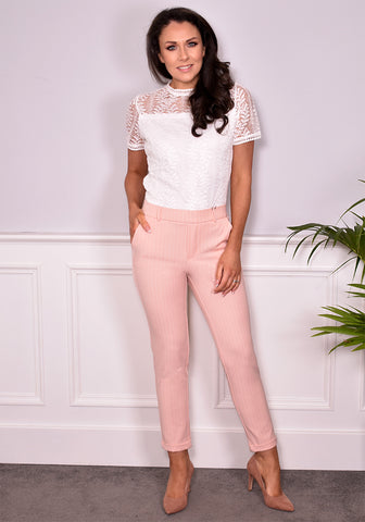 Maya Pinstripe Ankle Pants by Vero Moda (Peach/Summer White)-Bottoms-Redlane.ie