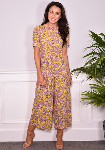 Kareena Print Jumpsuit by Traffic People in Yellow & Pink-Jumpsuits-Redlane.ie