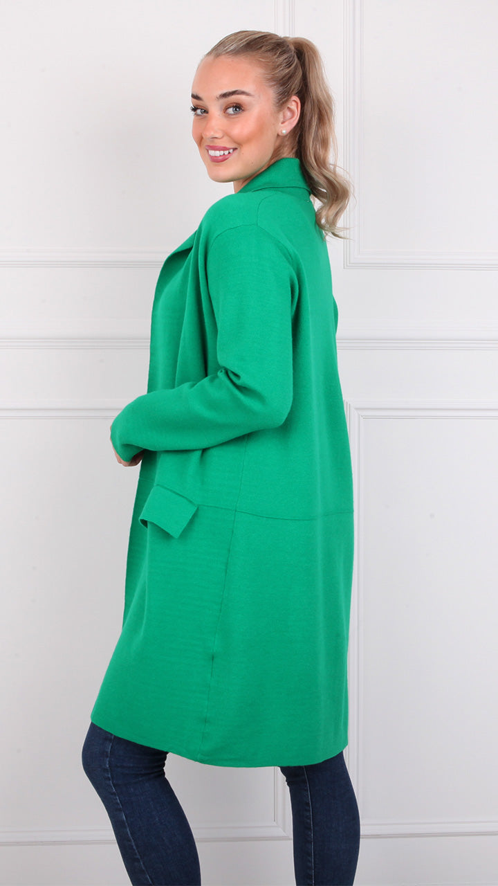 Adare Long Pocket Cardigan in Gucci Green