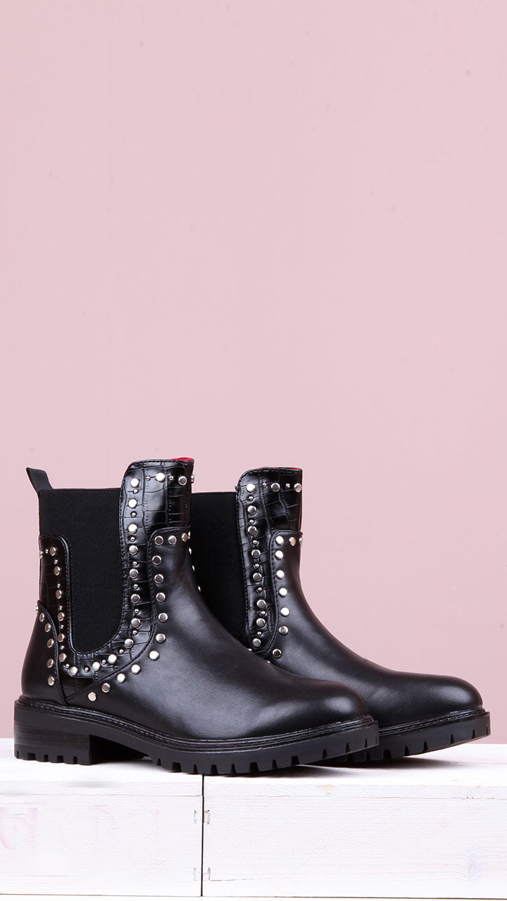 Ailish Stud Ankle Boot in Black