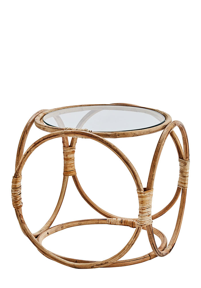 Bamboo Side Table With Glass Top