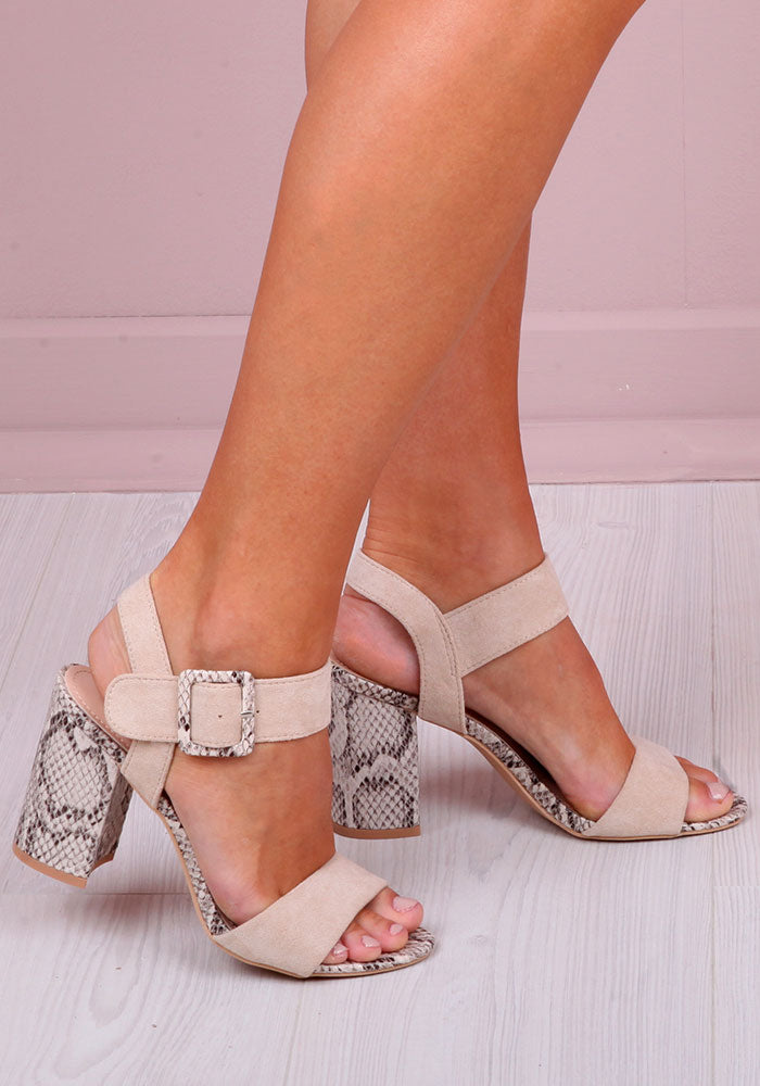 Victoria Snake Print Sandals in Nude