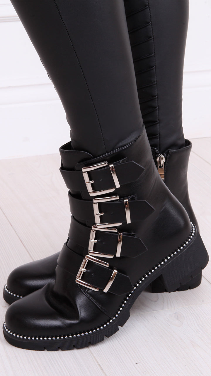Rosie Buckle Biker Boots in Black
