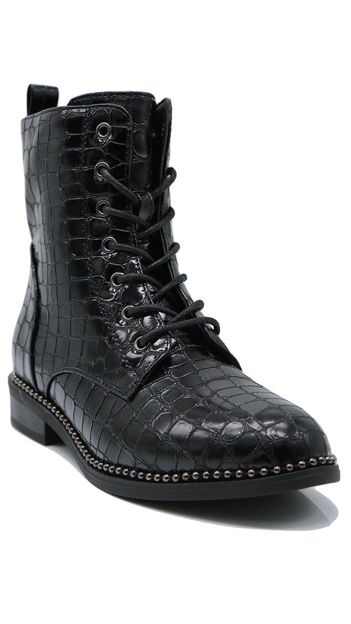 Annie Croc Lace Up Boots