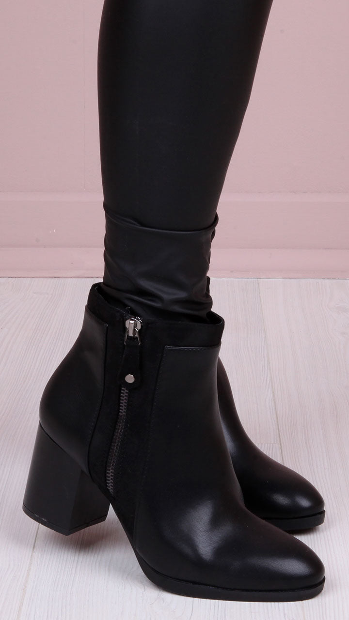 Niamh Zip Ankle Boots in Black