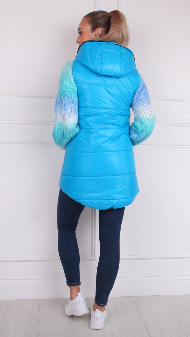 Maura Padded Gilet in Sky Blue