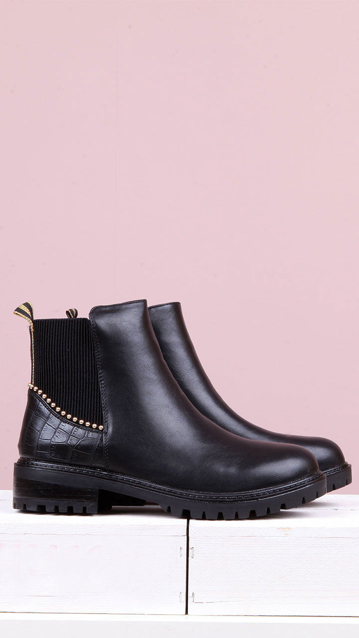 Georgina Gold Stud Chelsea Boot