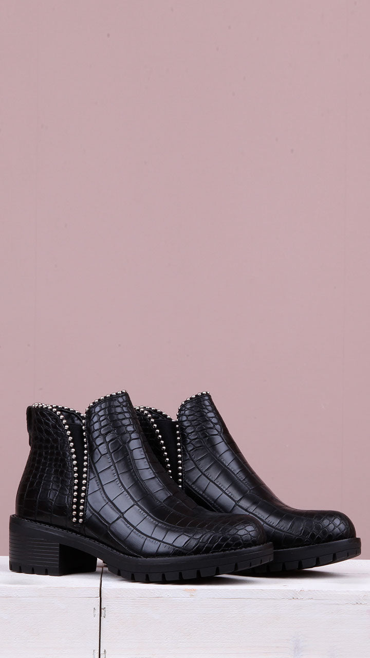 Brooke Silver Studded Croc Black Ankle Boot