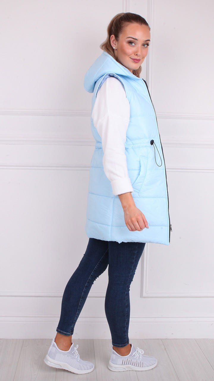 Kelly Short Gilet in Baby Blue