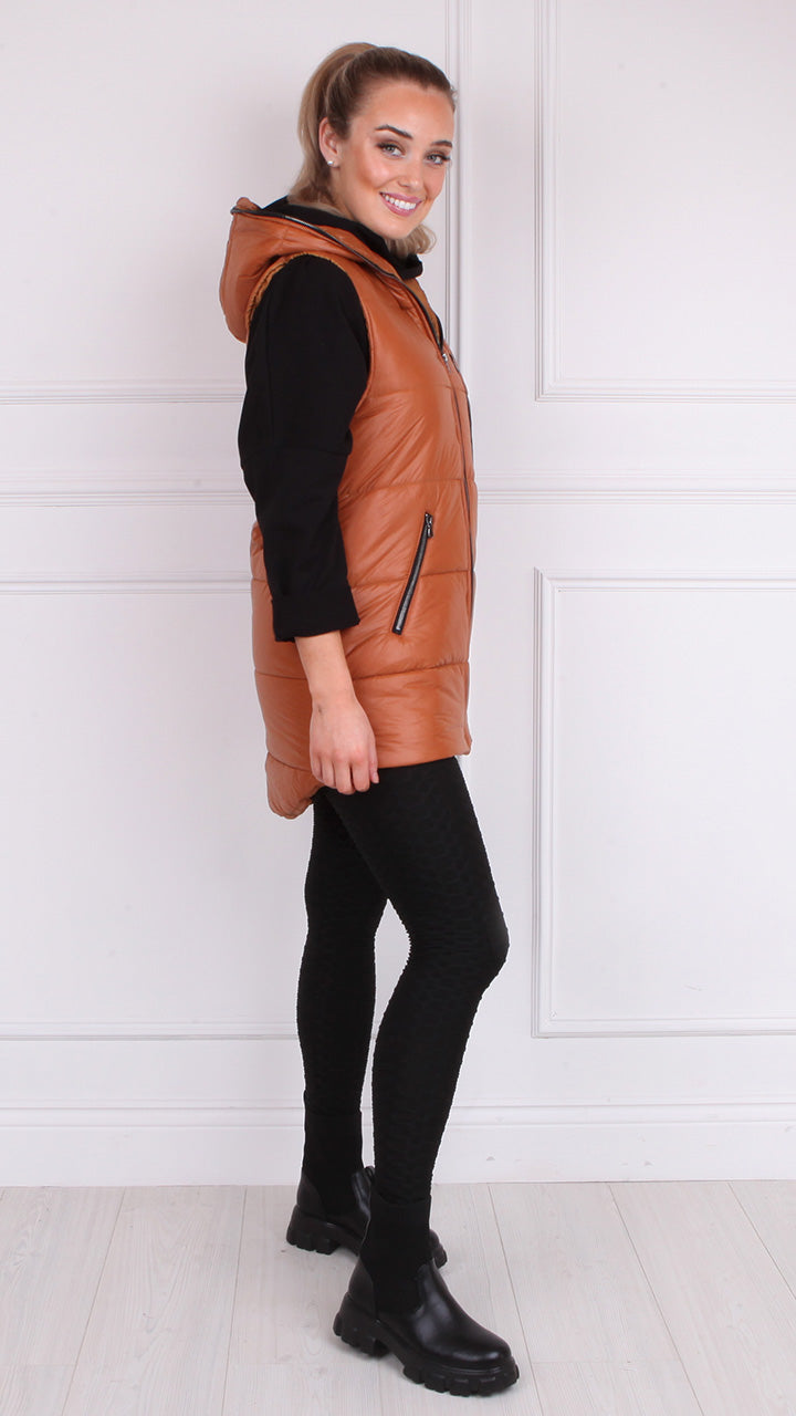 Maura Padded Gilet in Tan