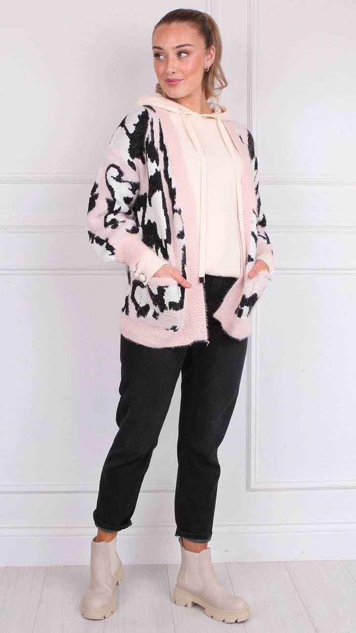 Trina Supersoft open Cardigan in Soft Pink