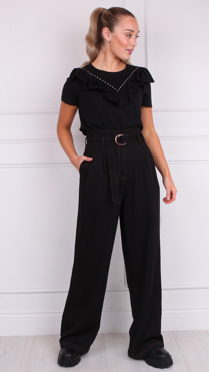 Perrette High Waist Paperbag Pants in Black by Frnch Paris