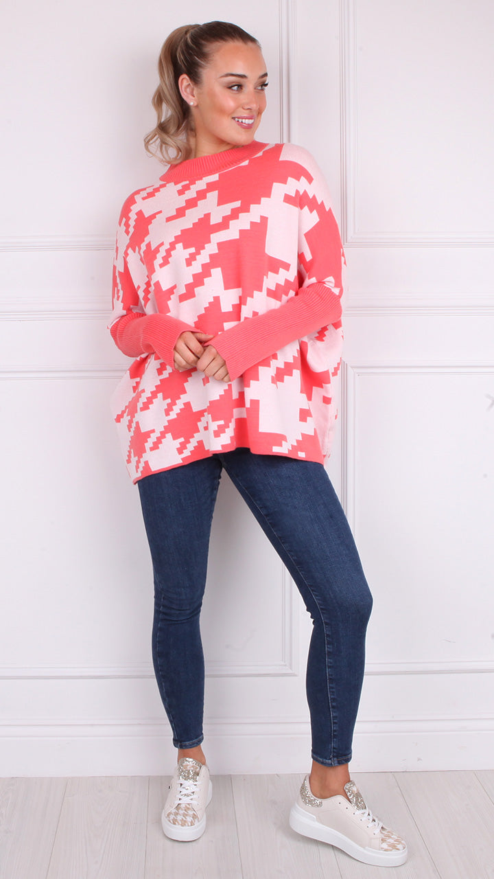 Kerragh Geo Print Oversized Knit in Coral