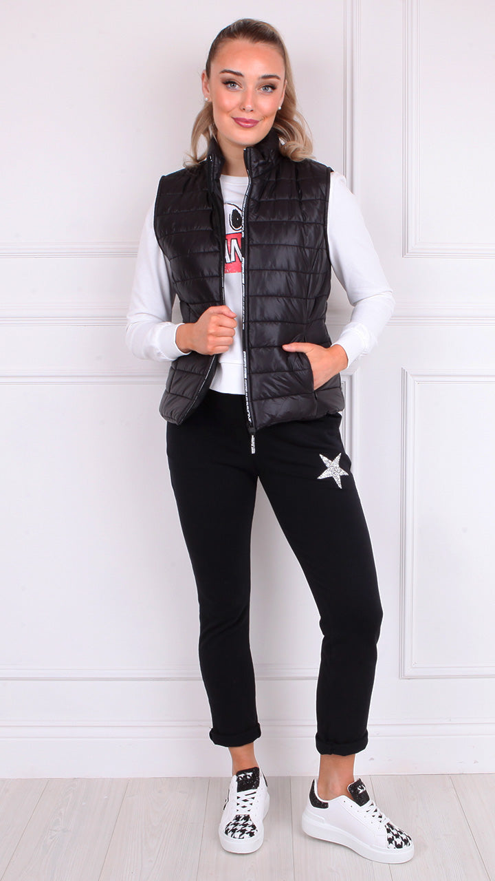 Kelly Short Gilet in Black