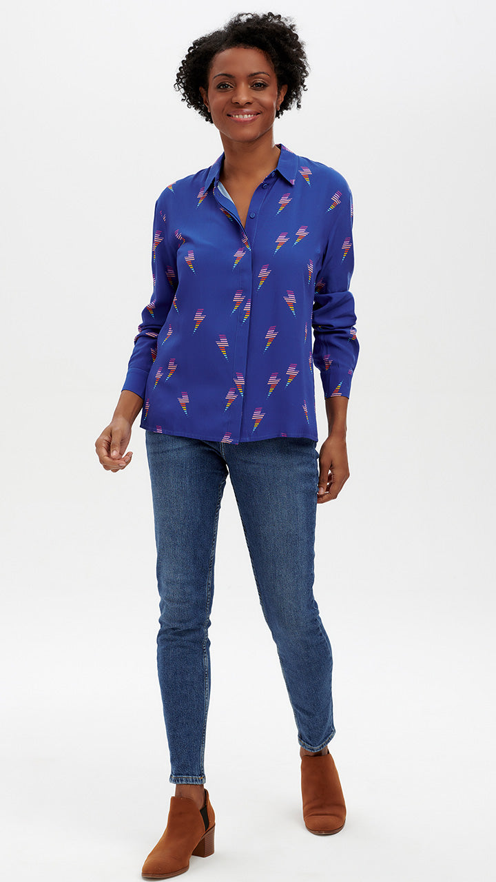 Joy Rainbow Lightening Shirt in Blue by Sugarhill Brighton