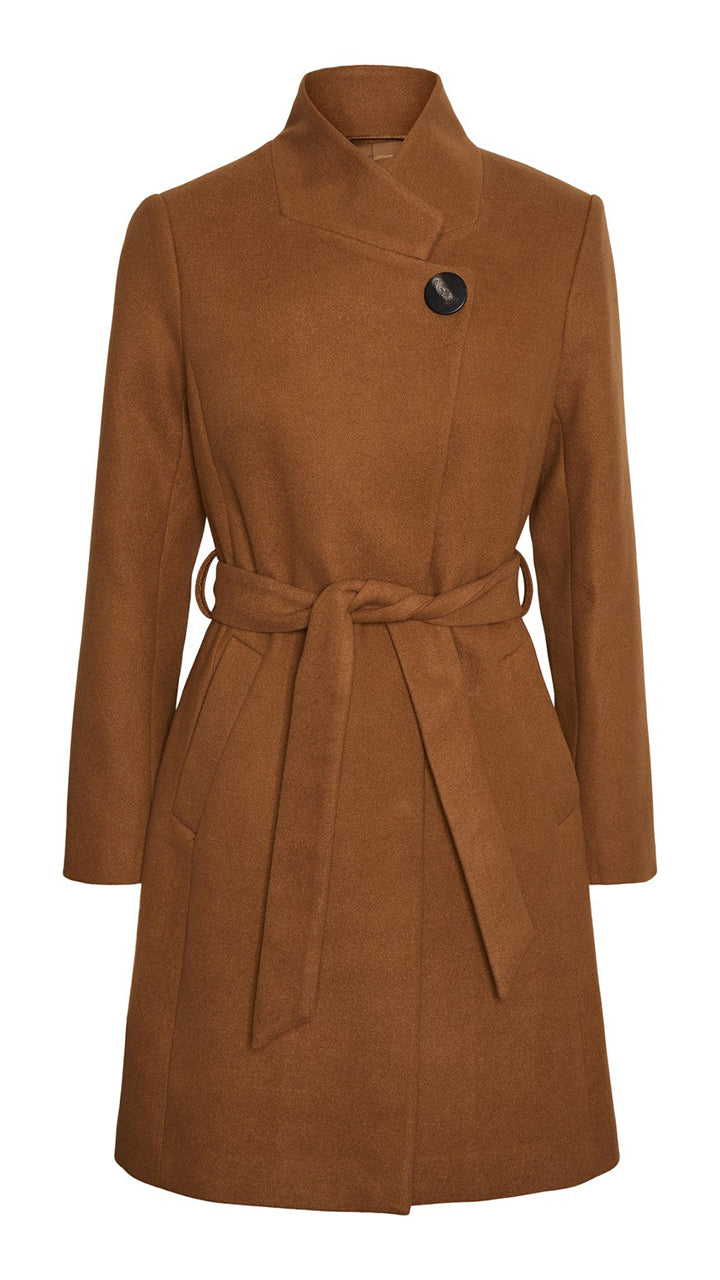 Juhi Button Coat by Vero Moda in Camel