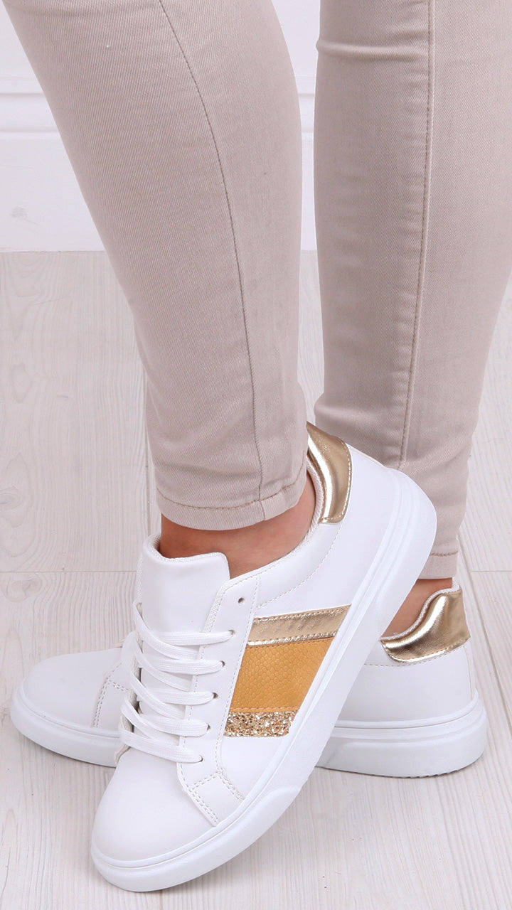 Geraldine Trainers in Gold/Yellow