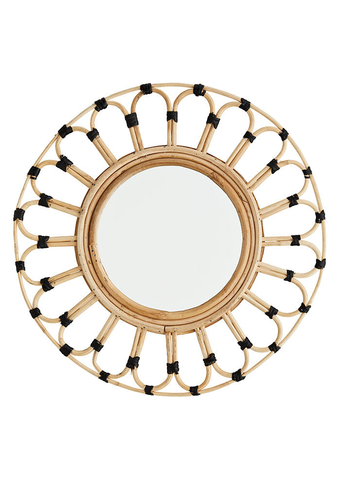Handmade Round Mirror With Bamboo Frame