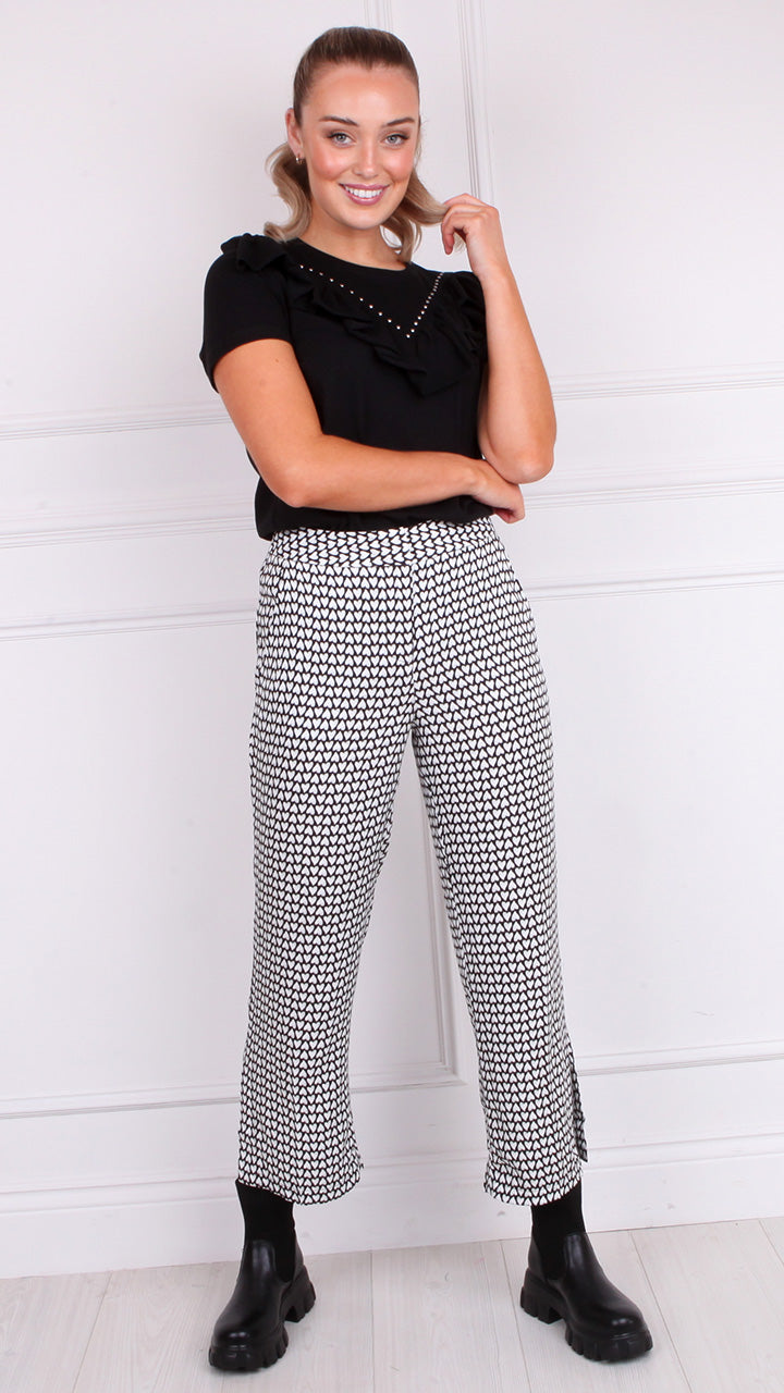 May Heart Cropped Trousers by Closet London