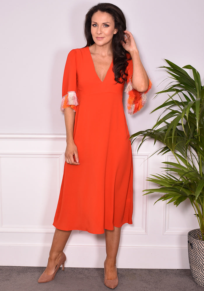 Eor Fringe Dress by Traffic People in Flame-Dresses-Redlane.ie
