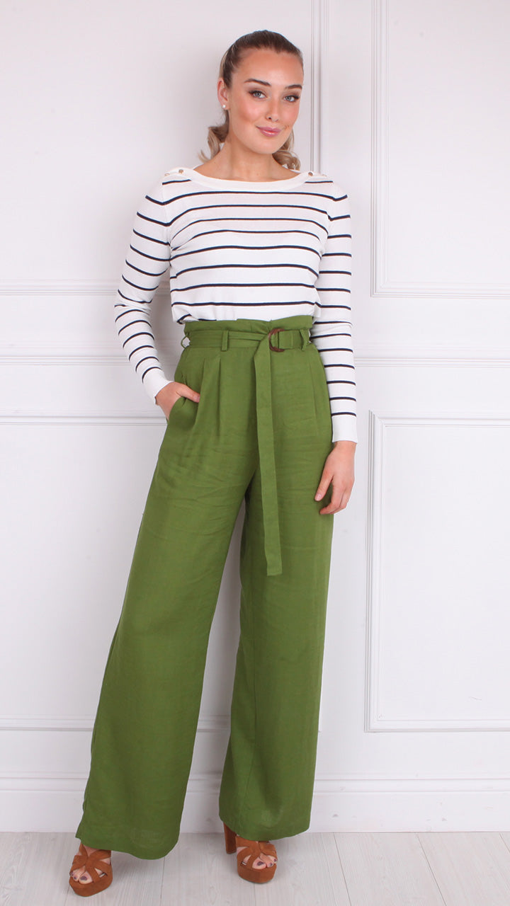 Perrette High Waist Paperbag Pants in Green by Frnch Paris