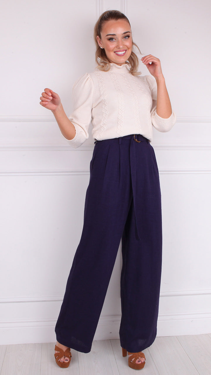Perrette High Waist Paperbag Pants in Navy by Frnch Paris