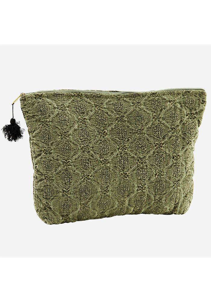 Embroidered Linen Tassel Toilet Bag in Olive