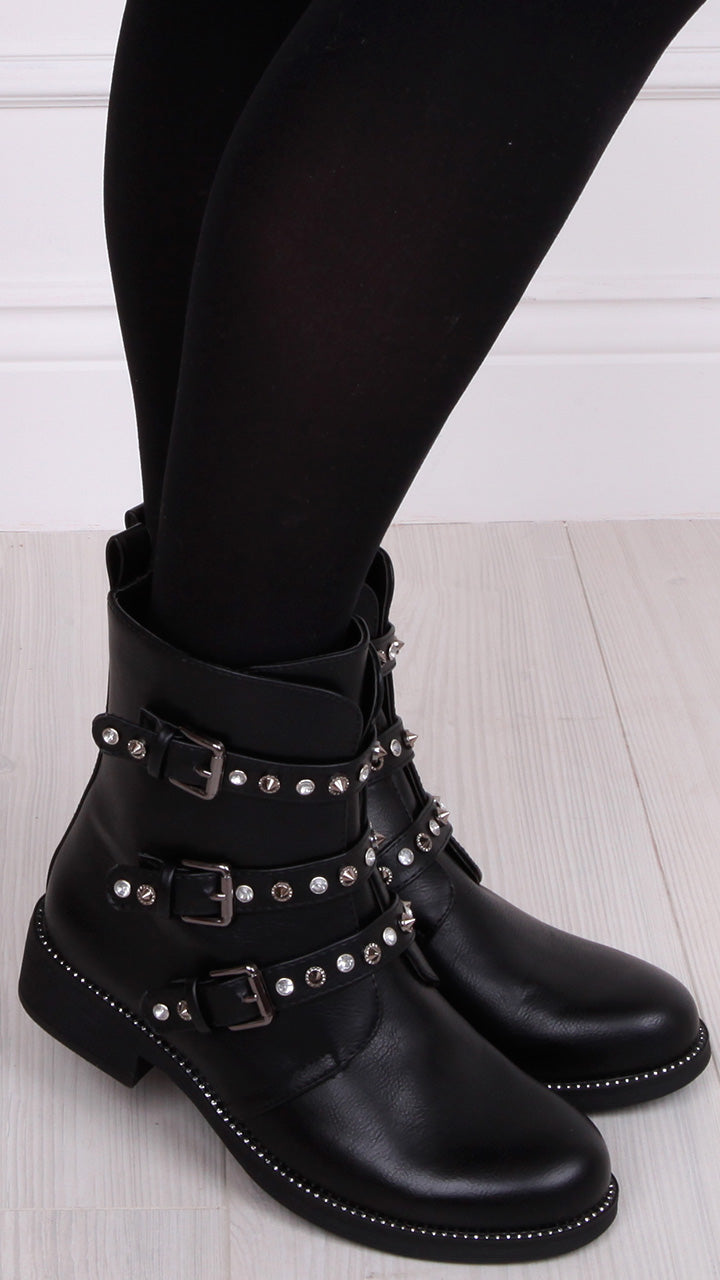 Gilly Embellished Biker Boots in Black