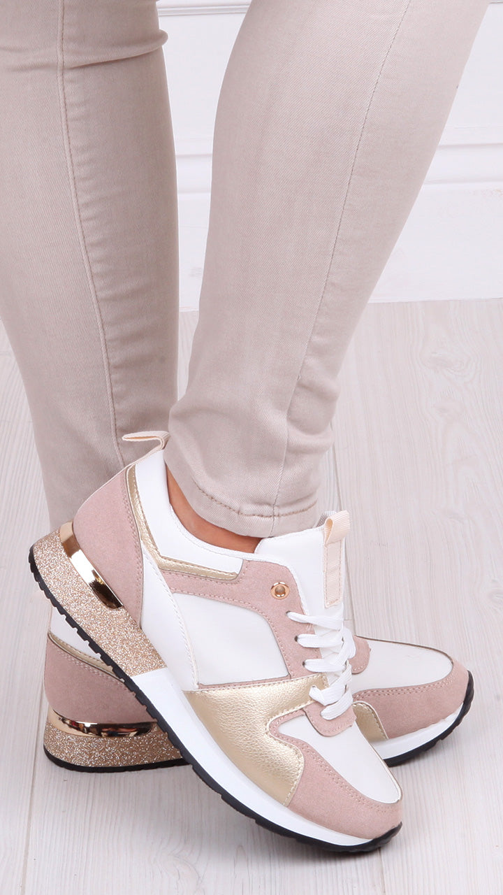 Niamh Trainers in Blush Pink/Gold
