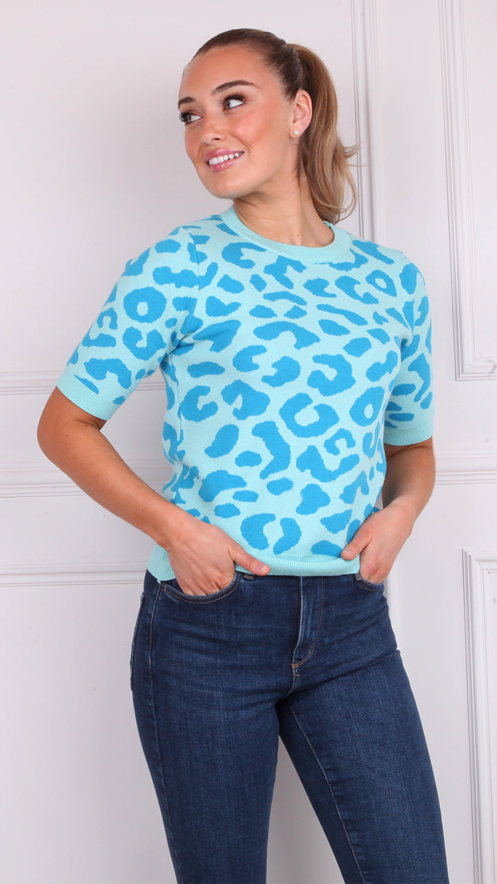 Inishmore Short Sleeved Leopard Knit in Blue