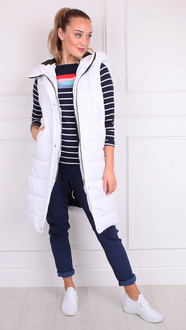 Cara Long Hooded Puffa Gilet in White