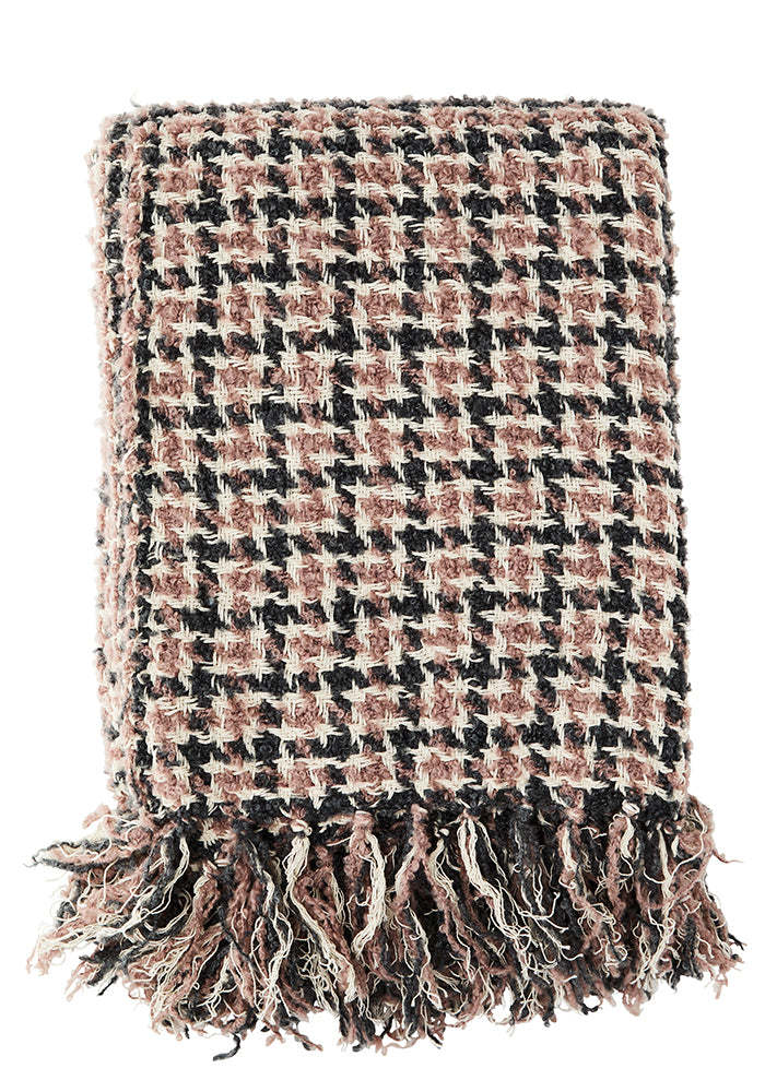 Checked Wool Mix Throw in Pink, Grey and Cream