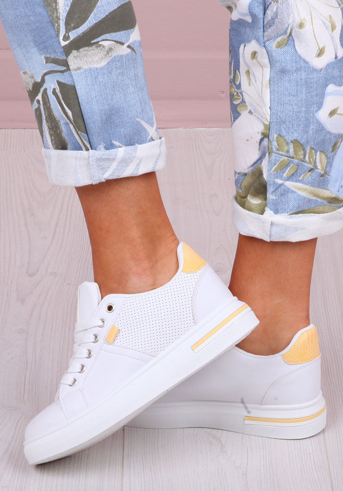 Jordana Trainers in White with Yellow Trim
