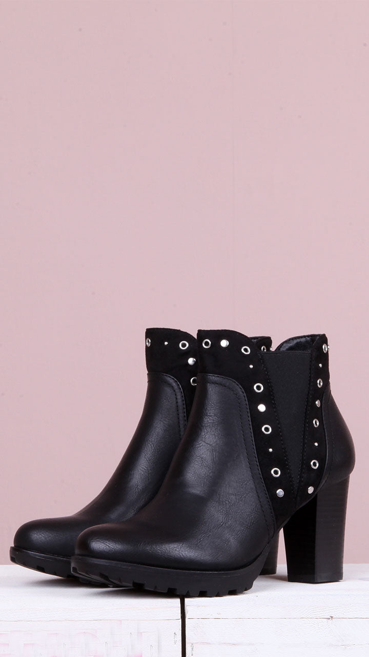 Kaya Stud Ankle Boot in Black