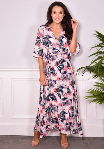 Dine Bold Print Maxi Dress by Traffic People in Cream Floral-Dresses-Redlane.ie
