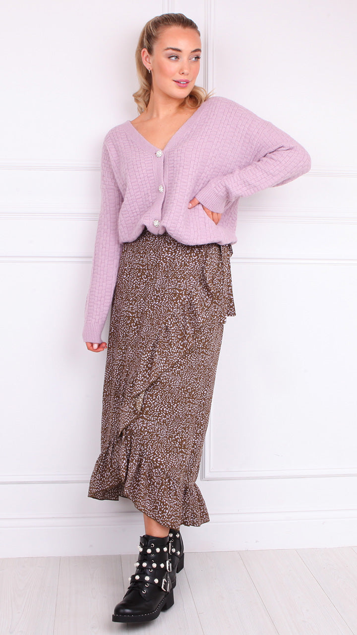 Cammo Wrap Skirt by Vero Moda in Lilac/Tan