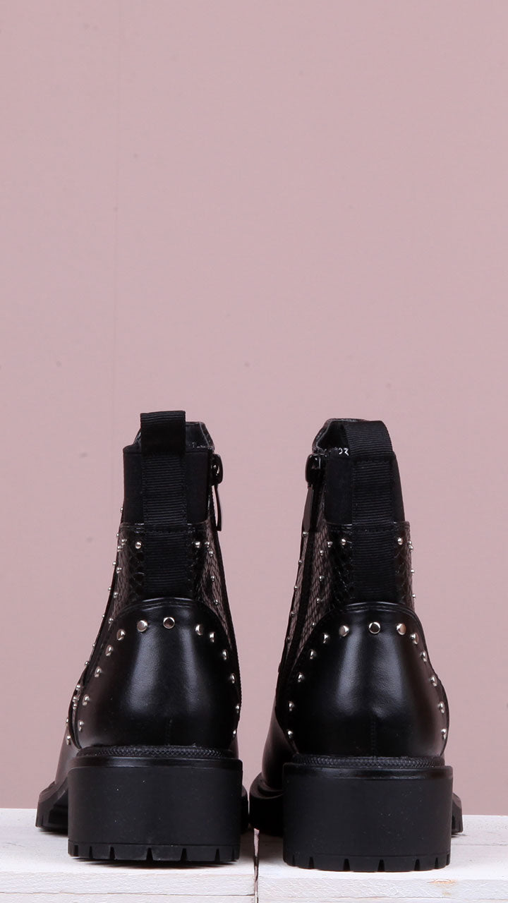 Lorena Studded Black Ankle Boots